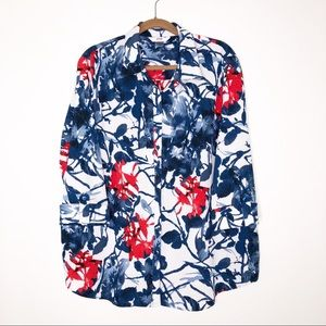 Alia red and blue print blouse. 22W